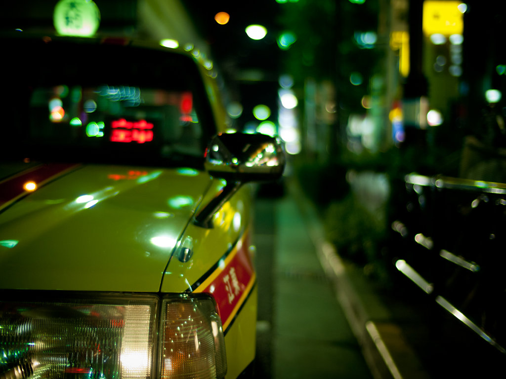 Taxi. Street. Lights. Roppongi